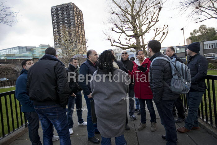 Palestinian firefighters visiting Grenfell in a solidarity with FBU official Lucy Masoud. The firefighters have been training in Scotland with the support of the FBU and Scottish Government. Kensington, London - Jess Hurd - 2018-01-19