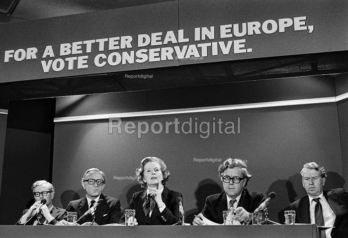 Conservative leaders at an EEC election press conference 1979 (L-R) Douglas Hurd, Lord Carrington, Margaret Thatcher, Geoffrey Howe & Peter Walker - Martin Mayer - 1979-05-18