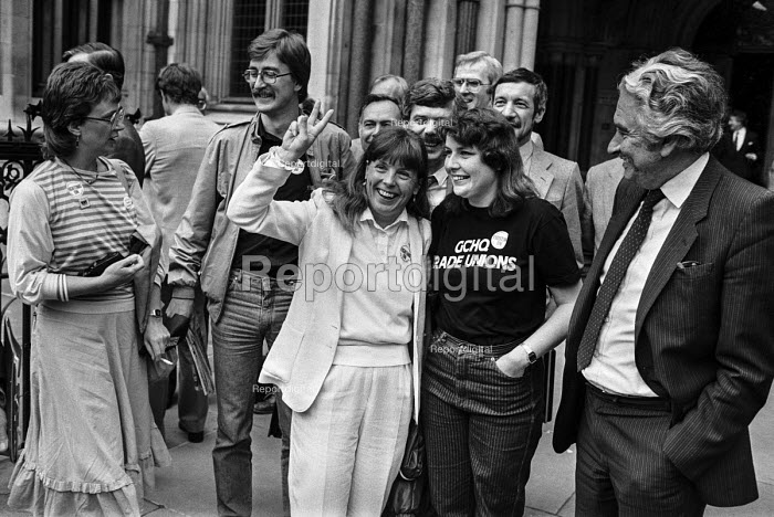 Union members from GCHQ outside the High Court 1984 to hear the result of their appeal against the government ban on union membership - Peter Arkell - 1984-07-16
