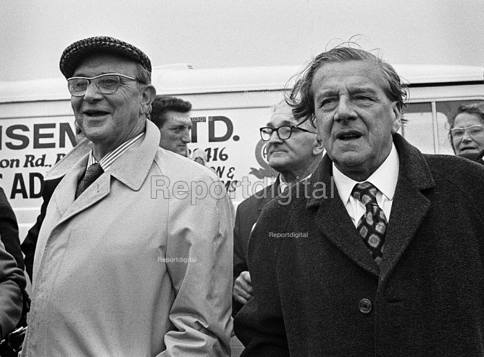 Jack Jones, TGWU (L) and Vic Feather, Pensioners protest, TUC conference, Blackpool, 1973 for a higher state pension - Peter Arkell - 1973-09-02