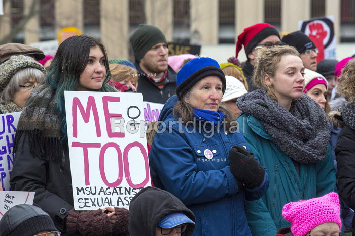Lansing, Michigan USA Womens march protest against sexual harassment, violence against women and the presidency of Donald Trump. MeToo - Jim West - 2018-01-21