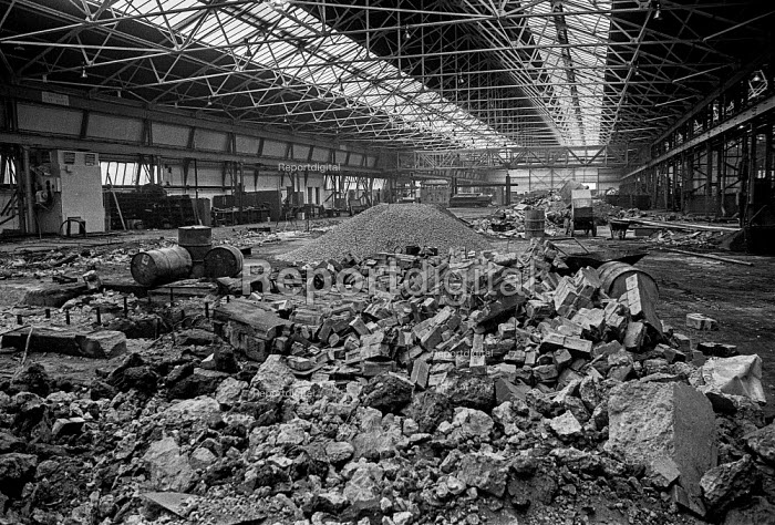 Demolition begins of Brux Ltd Jarrow 1975 after parent company Tube Investments closed the factory - Peter Arkell - 1975-03-01
