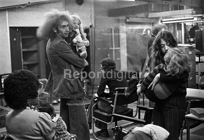Workers occupy Crosfield Electronics, Holloway, London 1975 bring their children into the factory during an occupation to keep their jobs in London. Crosfields developed the first digital scanner for the printing industry in the mid 1970s - Martin Mayer - 1975-03-31