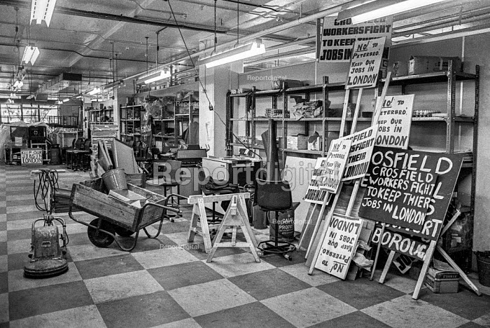 Placards at Crosfield Electronics, Holloway, London 1975 occupied by the workers to keep their jobs in London. Crosfields developed the first digital scanner for the printing industry in the mid 1970s - Martin Mayer - 1975-03-31