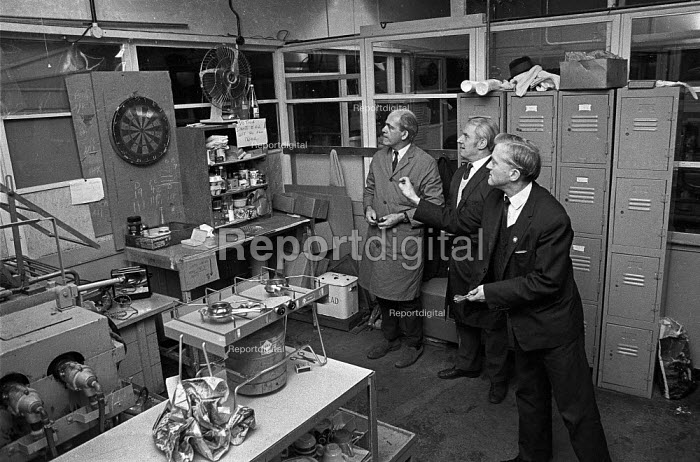 Workers occupy Plessey factory, Swindon 1974 in a pay dispute. Playing darts - Martin Mayer - 1974-12-11