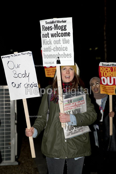 Protest against In Conversation with Jacob Rees-Mogg MP, Mile End Institute, Queen Mary and Westfield University, London. Kick out the anti-choice homophobes - Jess Hurd - 2018-02-01