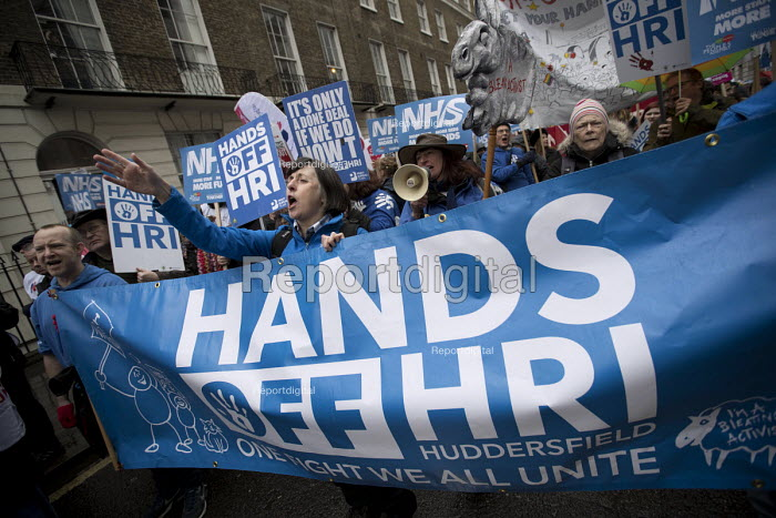 NHS in Crisis - Fix it now protest organised by the Peoples Assembly and Health Campaigns Together, Central London. Hands Off HRI Huddersfield - Jess Hurd - 2018-02-03