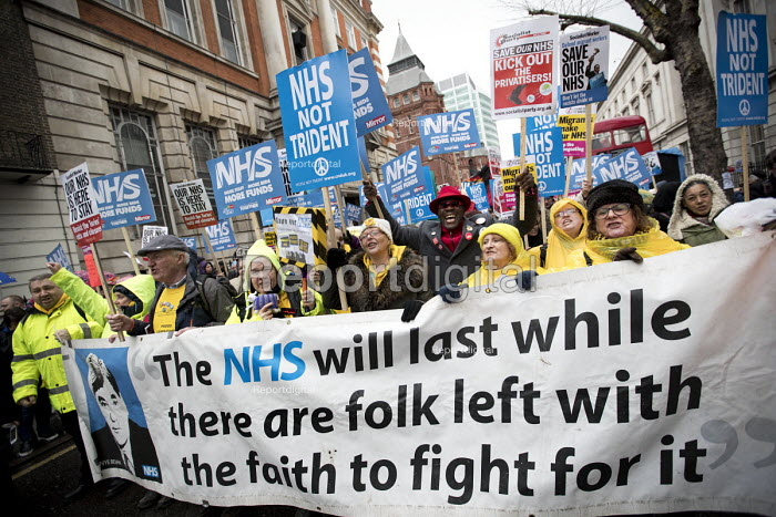 NHS in Crisis - Fix it now protest organised by the Peoples Assembly and Health Campaigns Together, Central London. Banner has a quote from Aneurin Bevan, who inaugurated the NHS in 1948, that The NHS will last as while there are folk left with the faith to fight for it - Jess Hurd - 2018-02-03