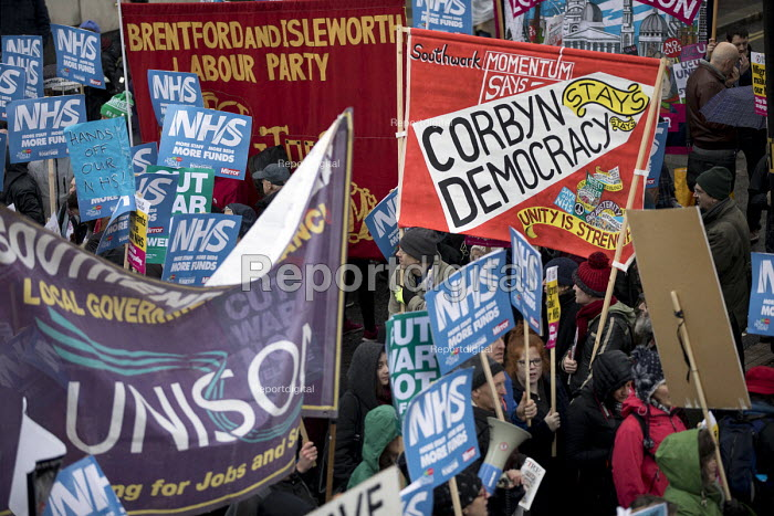 NHS in Crisis - Fix it now protest organised by the Peoples Assembly and Health Campaigns Together, Central London. Southwark Momentum - Jess Hurd - 2018-02-03
