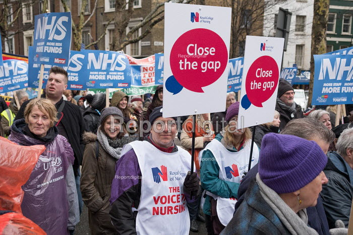 RCN Close The Gap. NHS in Crisis - Fix it now protest organised by the Peoples Assembly and Health Campaigns Together, Central London - Philip Wolmuth - 2018-02-03