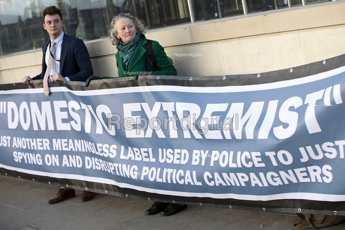 Jenny Jones, Green Party, Domestic Extremist Day protest against state spying and disruption of political organisations outside New Scotland Yard, Embankment, London - Jess Hurd - 2007-07-16