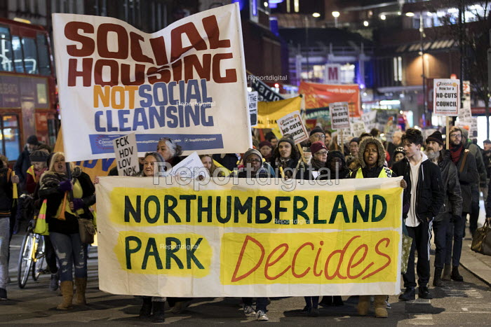 Social Housing Not Social Cleansing, stop HDV march to Haringey Civic Centre, London - Jess Hurd - 2018-02-07