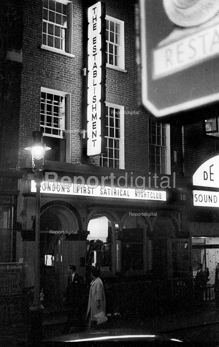 Exterior of The Establishment London 1961. The Establishment Club was created by Peter Cook and Nicholas Luard in Greek Street in the West End of London performing biting satire aimed at the ruling political classes - Romano Cagnoni - 1961-10-20