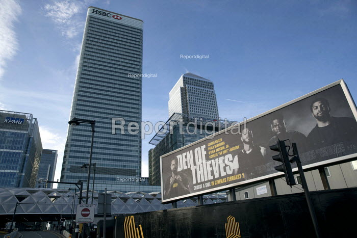Den of Thieves, American heist film advertisement with HSBC and KPMG at Canary Wharf, London Docklands - Jess Hurd - 2018-02-15