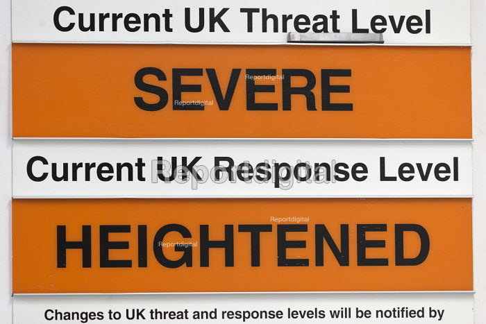 Current UK Threat Level Severe, Current UK Response Level Heightened, warning sign, Bristol Fire Station - John Harris - 2017-06-15