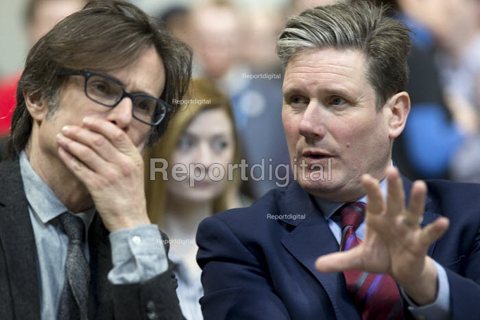 Robert Peston taking to Keir Starmer MP Labour Party Jobs First Brexit speech, Coventry University Technology Park - John Harris - 2018-02-26