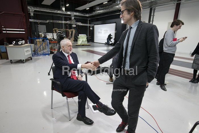 Jeremy Corbyn shaking hands with Robert Peston, interview, Labour Party Jobs First Brexit speech, Coventry University Technology Park - John Harris - 2018-02-26