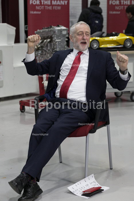 Jeremy Corbyn stretching and yawning in good humour, Robert Peston interview, Labour Party Jobs First Brexit speech, Coventry University Technology Park - John Harris - 2018-02-26