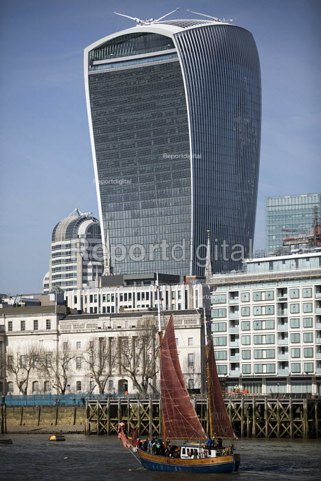 Thames Sailing Barge, The Walkie-Talkie building and The City, London - Jess Hurd - 2018-02-24