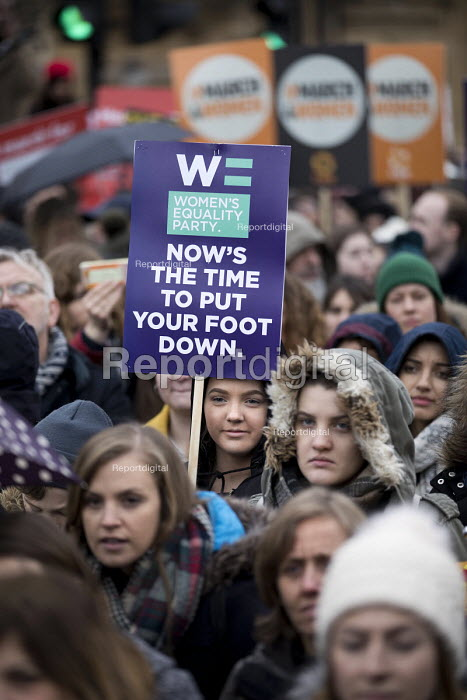 Womens Equality Party, March4Women retracing the historic steps of the suffragettes past Parliament to Trafalgar Square organised by CARE International UK, Westminster, London. - Jess Hurd - 2018-03-04