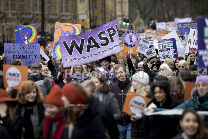 WASPI women join March4Women retracing the historic steps of the suffragettes past Parliament to Trafalgar Square organised by CARE International UK, Westminster, London. - Jess Hurd - 2018-03-04