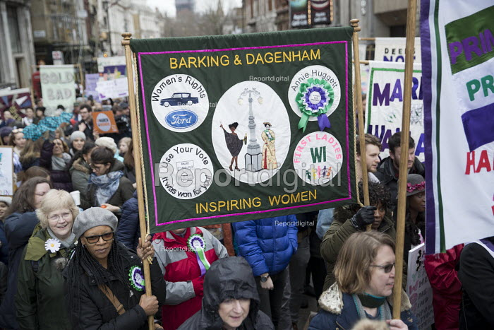 Barking and Dagenham WI join March4Women retracing the historic steps of the suffragettes past Parliament to Trafalgar Square organised by CARE International UK, Westminster, London - Jess Hurd - 2018-03-04