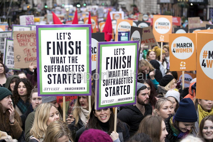March4Women retracing the historic steps of the suffragettes past Parliament to Trafalgar Square organised by CARE International UK, Westminster, London. - Jess Hurd - 2018-03-04