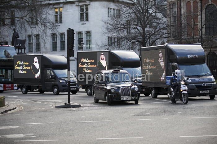 Trucks welcoming Saudi Prince Mohammed Bin Salman during a visit to Downing Street. London - Jess Hurd - 2018-03-07