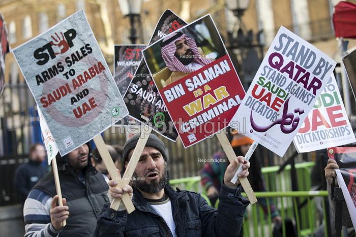 Protest against Saudi Prince Mohammed Bin Salman visit, Downing Street, London. War Criminal - Jess Hurd - 2018-03-07