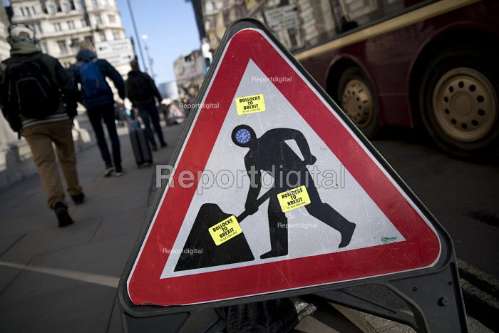 Bollox to Brexit its not a done deal, pro EU stickers on a roadworks warning sign, Westminster, London - Jess Hurd - 2018-03-07