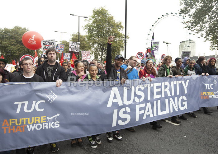 A Future That Works. TUC March and rally, protest against the government austerity policies and for an alternative economic strategy that puts jobs, growth and people first. London - Paul Box - 2012-10-20