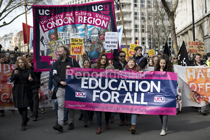 UCU university lecturers pensions strike protest, London - Jess Hurd - 2018-03-14