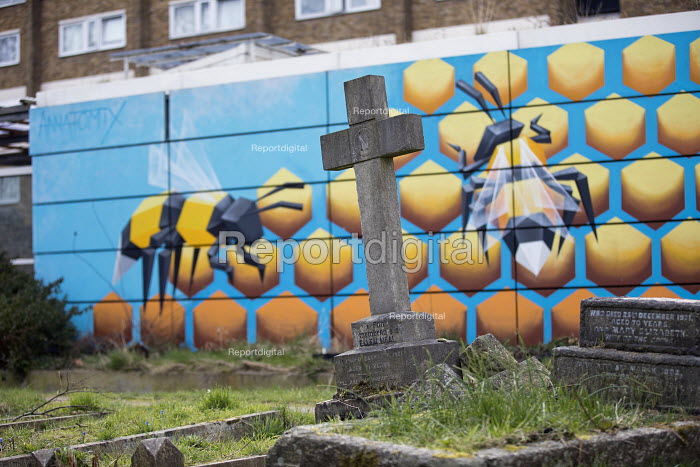 Bee graffiti by Annatomix in a graveyard, Tower Hamlets Cemetry Park, Mile End, East London - Jess Hurd - 2018-03-14