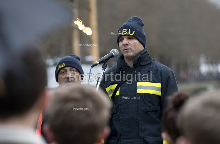 Trevor French FBU speaking, Silent protest for Grenfell Tower victims, Bristol - Paul Box - 2018-03-14