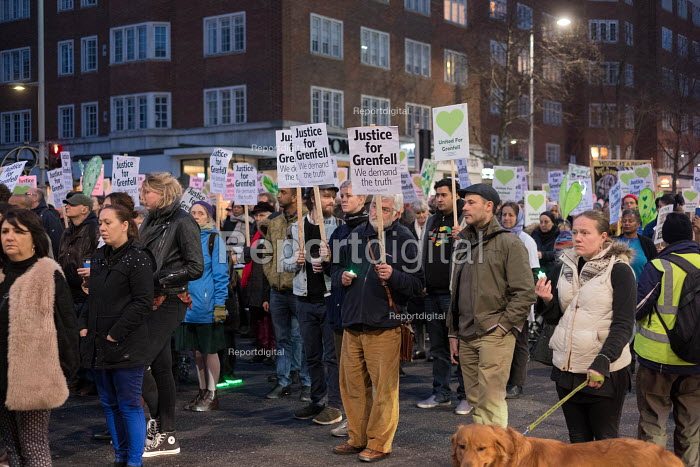 Silent march commemorating victims of the Grenfell Tower fire, Kensington High Street, London - Philip Wolmuth - 2018-03-14