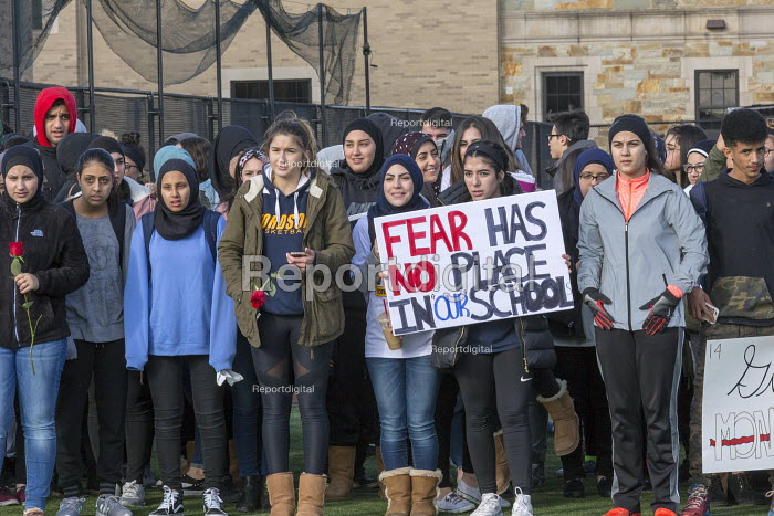 Dearborn, Michigan USA Students walk out of class in protest against gun violence one month after 17 were killed in the Parkland High School shooting. Fordson High School - Jim West - 2018-03-14