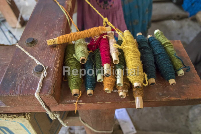 San Miguel del Valle, Oaxaca, Mexico - Colorful yarn to weave rugs. Microfinance loans from the non profit En Via are supporting small businesses in the village - Jim West - 2018-02-24