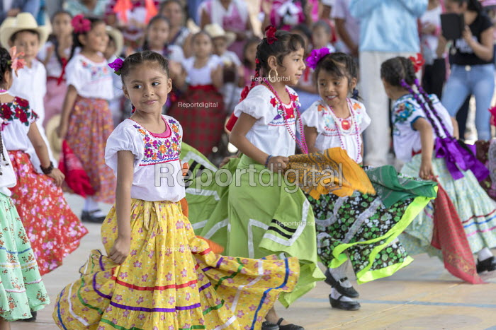 San Juan Teitipac, Oaxaca, Mexico Children performing, Zapotec Heritage Fair celebrating the culture of the region - Jim West - 2018-02-22