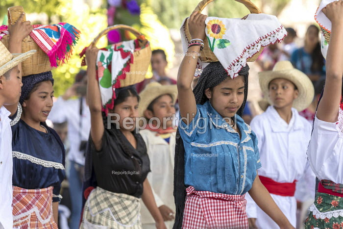 San Juan Teitipac, Oaxaca, Mexico Children performing, Zapotec Heritage Fair celebrating the culture of the region - Jim West - 2018-02-22
