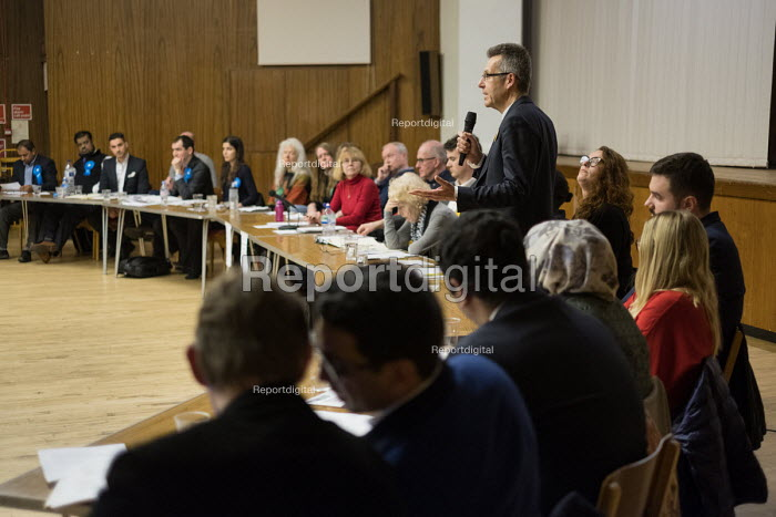 Adrian Bridge Liberal Democrats, hustings with Conservative, Labour, Liberal Democrats and Green local election candidates for 2 council wards Camden, London - Philip Wolmuth - 2018-04-09