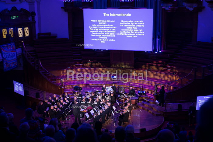 Dodworth Colliery Band playing The Internationale, Rodney Bickerstaffe memorial event for the former Gen Sec of NUPE and Unison. Central Hall Westminster, London - Philip Wolmuth - 2018-04-12