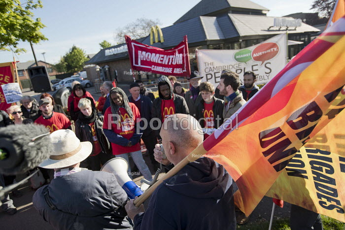 Martin Harding, FBU speaking in solidarity with McDonalds workers strike for £10 per hour, an end to zero hours contracts and union recognition on International Workers Day, Cambridge - Jess Hurd - 2018-05-01