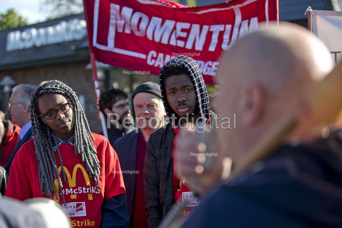 Martin Harding, FBU speaking McDonalds workers strike for £10 per hour, an end to zero hours contracts and union recognition on International Workers Day, Cambridge - Jess Hurd - 2018-05-01