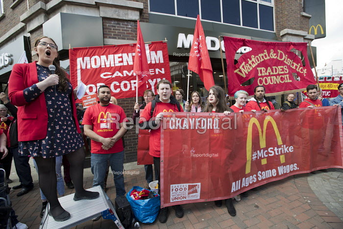 Laura Pidcock MP, Labour Party, former McDonalds worker speaking McDonalds workers strike for £10 per hour, an end to zero hours contracts and union recognition on International Workers Day, Watford, home to global CEO Steve Easterbrook - Jess Hurd - 2018-05-01
