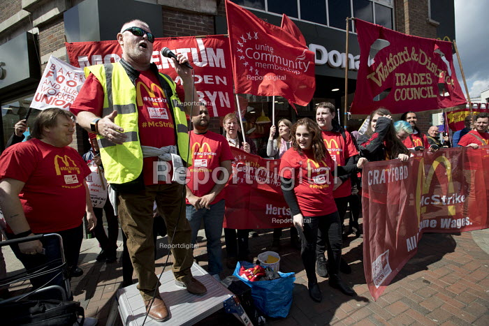 Ronnie Draper, BFAWU speaking McDonalds workers strike for £10 per hour, an end to zero hours contracts and union recognition on International Workers Day, Watford, home to global CEO Steve Easterbrook - Jess Hurd - 2018-05-01