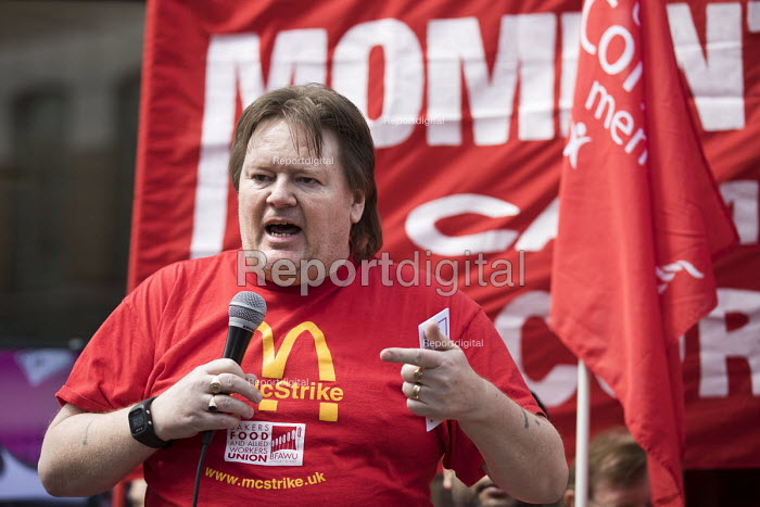 Ian Hodson BFAWU, speaking McDonalds workers strike for £10 per hour, an end to zero hours contracts and union recognition on International Workers Day, Watford, home to global CEO Steve Easterbrook - Jess Hurd - 2018-05-01