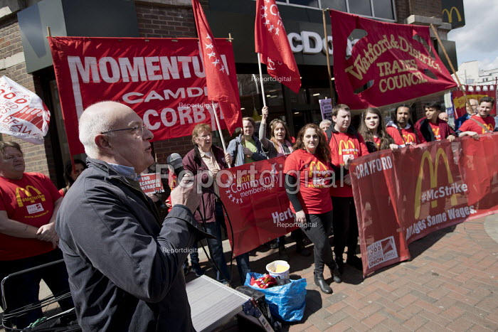 Doug Nicholls, GFTU speaking McDonalds workers strike for £10 per hour, an end to zero hours contracts and union recognition on International Workers Day, Watford, home to global CEO Steve Easterbrook - Jess Hurd - 2018-05-01