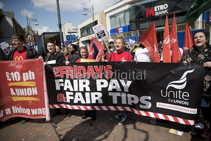 TGI Fridays Fair Tips campaigners supporting McDonalds workers strike for £10 per hour, an end to zero hours contracts and union recognition on International Workers Day, Watford, home to global CEO Steve Easterbrook - Jess Hurd - 2018-05-01