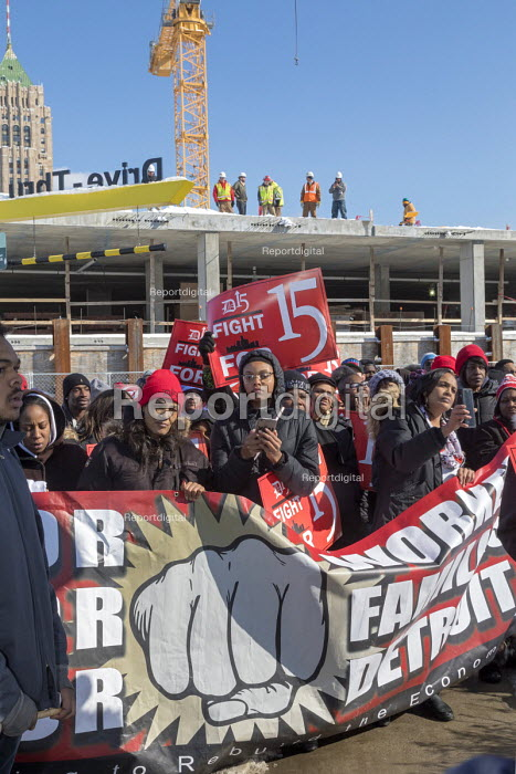 Detroit, Michigan USA Fast food workers protest at a McDonalds restaurant for a $15 per hour minimum wage. 50th anniversary of the historic 1968 Memphis sanitation workers strike - Jim West - 2018-02-12