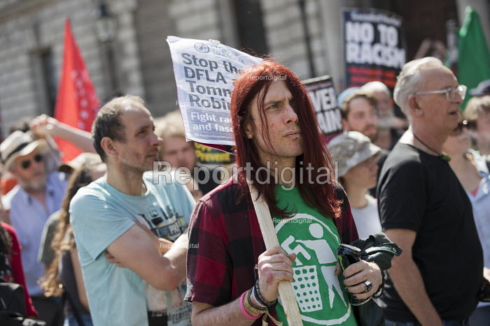 Anti fascists opposing Tommy Robinson and the Democratic Football Lads Alliance Day Of Freedom rally, Whitehall, London - Jess Hurd - 2018-05-06